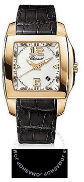 Chopard Two O Ten White Dial 18k Rose Gold Black Leather Ladies Watch
