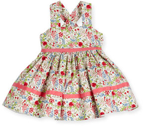 Helena Sleeveless Smocked Floral Cross-Back Dress, Coral/Multicolor, Size 6-18 Months
