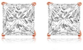 Alpha A A CZ 14kt Rose Gold Square Stud Earrings, 5mm