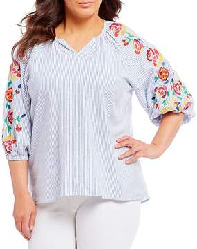 Chelsea & Theodore Plus Floral Embroidered Sleeve Split V-Neck Stripe Print Top