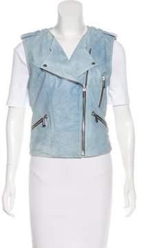 Barbara Bui Leather Blue Jean Vest w/ Tags