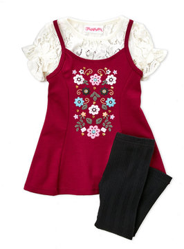 Flapdoodles Girls 4-6x) Floral Ponte Skater Tunic & Ribbed Leggings Set