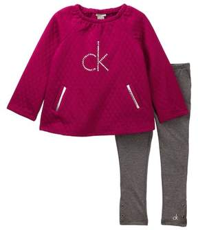 Calvin Klein Quilted Fleece Tunic & Legging Set (Little Girls)