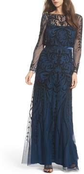 Adrianna Papell Embellished Long Sleeve Gown