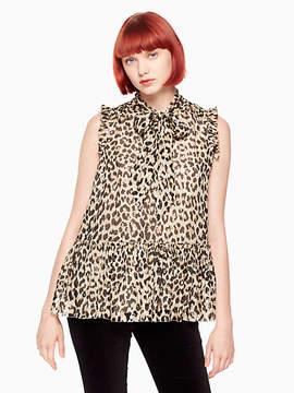 Kate Spade Leopard-print clipped dot top