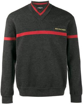 Balenciaga striped V-neck sweater