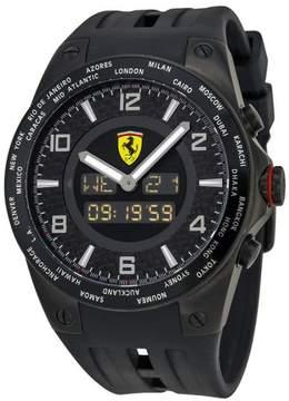 Ferrari World Time FE-05-IPB-FC Carbon Fiber Dial Rubber Strap Quartz Mens Watch