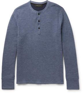 Rag & Bone Gregory Honeycomb-Knit Stretch Wool-Blend Henley T-Shirt