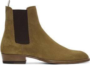 Saint Laurent Tan Suede Wyatt Boots