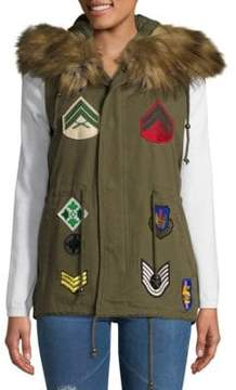 Bagatelle Faux Fur-Trim Embroidered Patch Cotton Vest