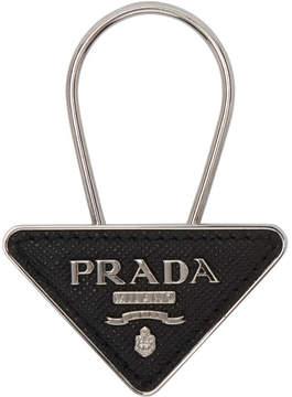 Prada Black and Silver Small Logo Keychain