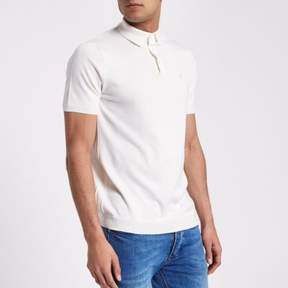 River Island Mens Cream slim fit knitted polo shirt