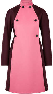 Valentino Two-tone Double-breasted Wool And Cashmere-blend Felt Coat - Merlot