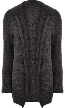River Island Mens Dark grey knit open hooded longline cardigan