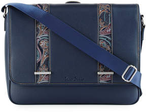 Robert Graham Leather Paisley Messenger Bag, Navy