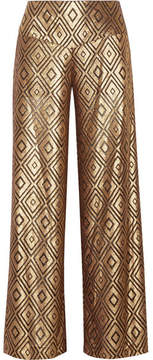 Anna Sui Metallic Devoré-chiffon Wide-leg Pants - Gold