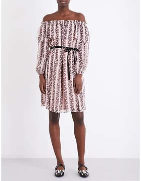 Claudie Pierlot Off-the-shoulder floral striped dress