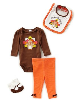 Starting Out Baby Girls Newborn-9 Months Thanksgiving Turkey 4-Piece Layette Set