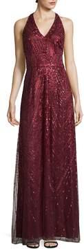 David Meister Women's Sequin Halter Gown