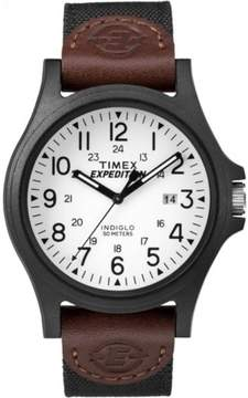 Timex Men's Expedition Acadia Black/Brown/White Watch, Leather/Nylon Strap