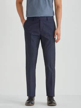 Frank and Oak The Laurier Micro Dot Cotton Trouser in Dark Navy