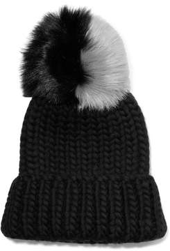 Eugenia Kim Rain Faux Fur-trimmed Chunky-knit Wool Beanie - Black