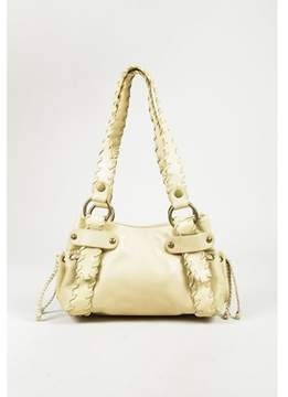 Kooba Pre-owned Yellow Grained Leather Whipstitch Shoulder Bag.