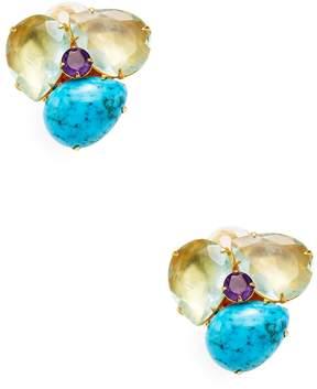 Bounkit Women's Gemstone Cluster Stud Earrings