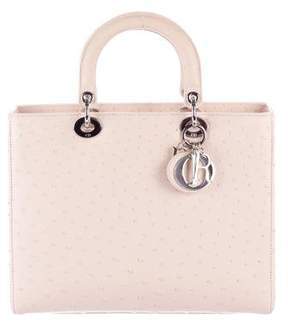 Christian Dior Ostrich Large Lady Bag