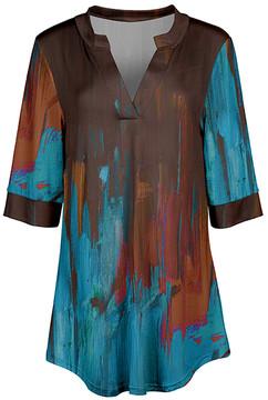 Azalea Brown & Blue Abstract V-Neck Tunic - Women & Plus