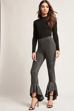 Forever 21 Metallic Stripe Ruffle Pants