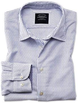 Charles Tyrwhitt Classic Fit Washed White and Blue Striped Textured Cotton Casual Shirt Single Cuff Size Large