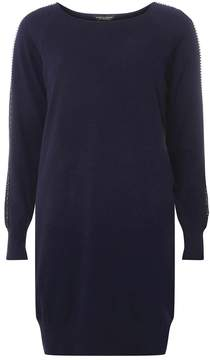 Dorothy Perkins Navy Knitted Embellished Tunic Jumper
