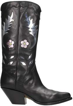 Buttero Black Leather Texan Boots