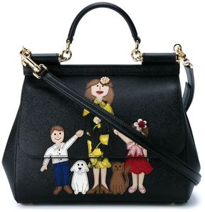 Dolce & Gabbana Family Print Leather Satchel - BLACK - STYLE