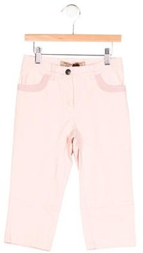 MonnaLisa Girls' Rib Knit-Trimmed Straight-Leg Pants w/ Tags