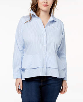 Almost Famous Trendy Plus Size Cotton Embellished High-Low Peplum Shirt