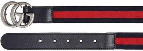 Gucci Web Elastic & Leather Belt