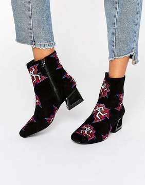 Kat Maconie Daphne Black Dancer Print Heeled Ankle Boots