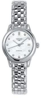 Longines Diamond, Mother-Of-Pearl & Stainless Steel Bracelet Watch