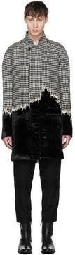 Haider Ackermann Black and White Houndstooth and Velvet Coat