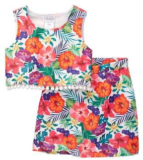 Blush by Us Angels Floral Tank with Fitted 2-Piece Set (Big Girls)