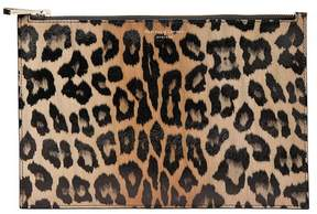 Aspinal of London Large Essential Flat Pouch In Digital Leopard Print