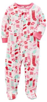 Carter's Little Girls Christmas Stocking Blanket Sleeper Union Suit Pajamas 4