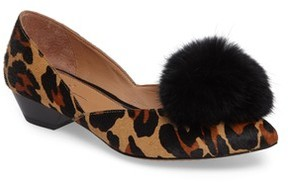 Linea Paolo Women's Camille Ii Genuine Calf Hair D'Orsay Pump With Genuine Rabbit Fur Pompom