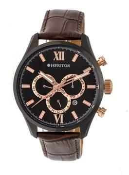 Heritor Benedict Black Dial Black Leather Strap Black IP Case Automatic Men's Watch