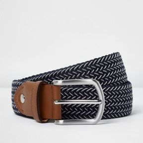 River Island Mens Blue woven contrast belt