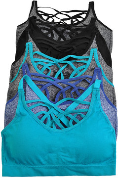 Angelina Teal & Marled Gray Seamless Strappy Bralette Set