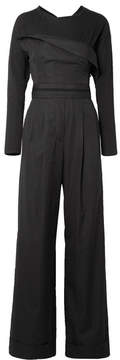 Alexander Wang Layered Cotton-poplin And Jersey Jumpsuit - Black