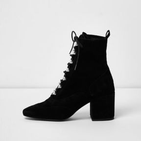 River Island Womens Black suede tie up boots